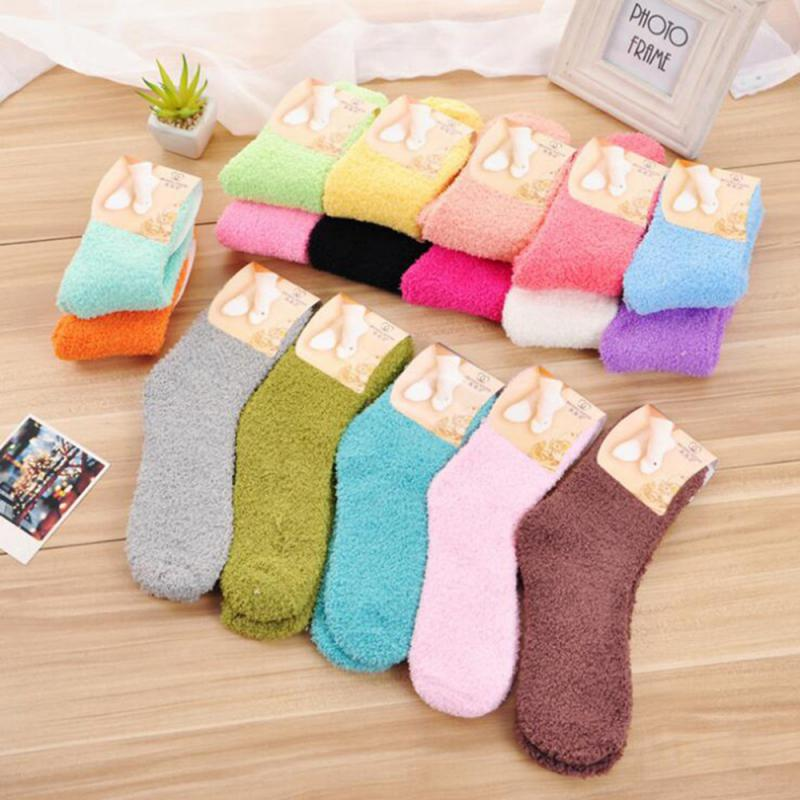 Seamless Warm Female Socks Sports Snow Socks Candy Color Soft Floor Sleeping Socks Winter Women Thicken Thermal Wool Socks