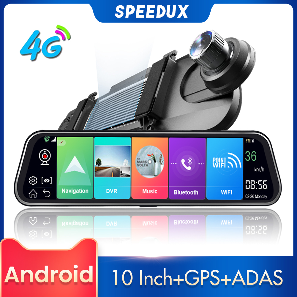 4G 10 Inch Car Rearview Mirror Car DVR ADAS Android FHD For Auto Recorder GPS Navigation Register Dash Camera Rear View Camera