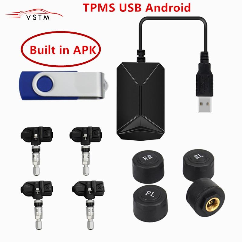 USB Android TPMS Car Tire Pressure Monitoring System Display 4 Internal Sensors Android Navigation Tyre Pressure Alarm 0-116Psi(China)