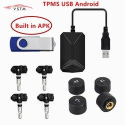 USB Android system monitorowania ciśnienia w oponach TPMS wyświetlacz 4 czujniki wewnętrzne Android nawigacja Alarm ciśnienia w oponach 0-116Psi