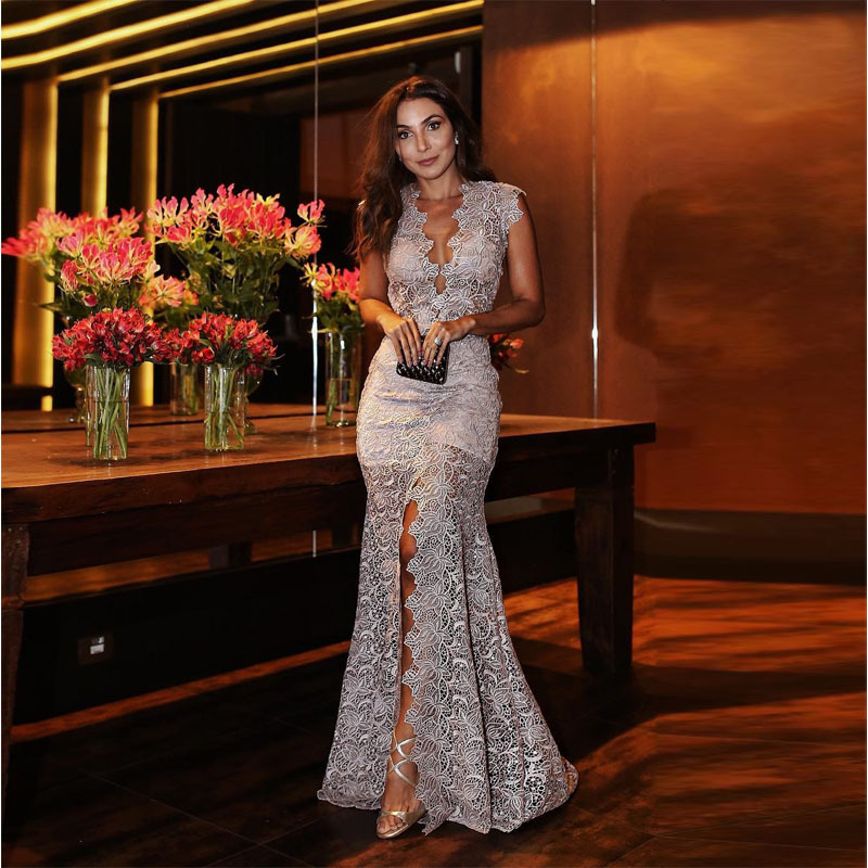 2019 Europe And America Foreign Trade New Style Dress Wish Amazon Hot Selling Deeply Deep-V Slim Fit Formal Dress Lace Long Skir