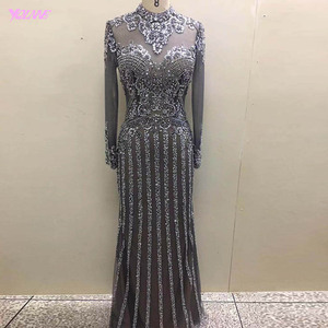 Image 3 - YQLNNE Gorgeous Dark Gray Diamonds Evening Dresses Long Sleeve Dubai Evening Gown Mermaid High Neck Beaded Formal Dress