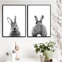 Черно белый кролик роспись детская комната в скандинавском стиле