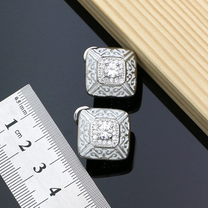 Image 5 - Kauçuk boya gümüş 925 takı beyaz kübik zirkonya takı setleri kadınlar için parti küpe/kolye/yüzük/bilezik/Kolye seti