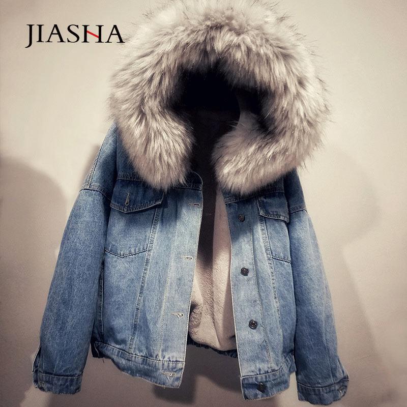 Women Jacket 2019 Fashion Winter Coat Warm Cotton Denim Jacket Women Hooded Jacket Coat Woman Bomber Jackets   Parkas   Plus Size