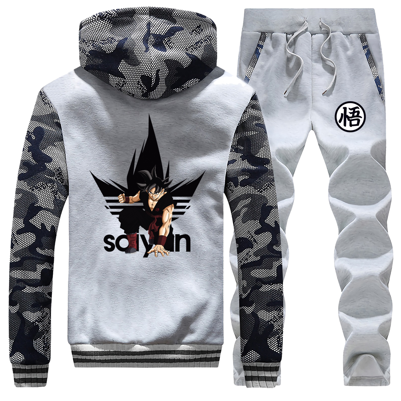 Japanese Anime Brand Tracksuit Dragon Ball Z Men's Thick Sets Super Saiyan Jackets 2019 Winter Harajuku Camo Pants Sweatshirts