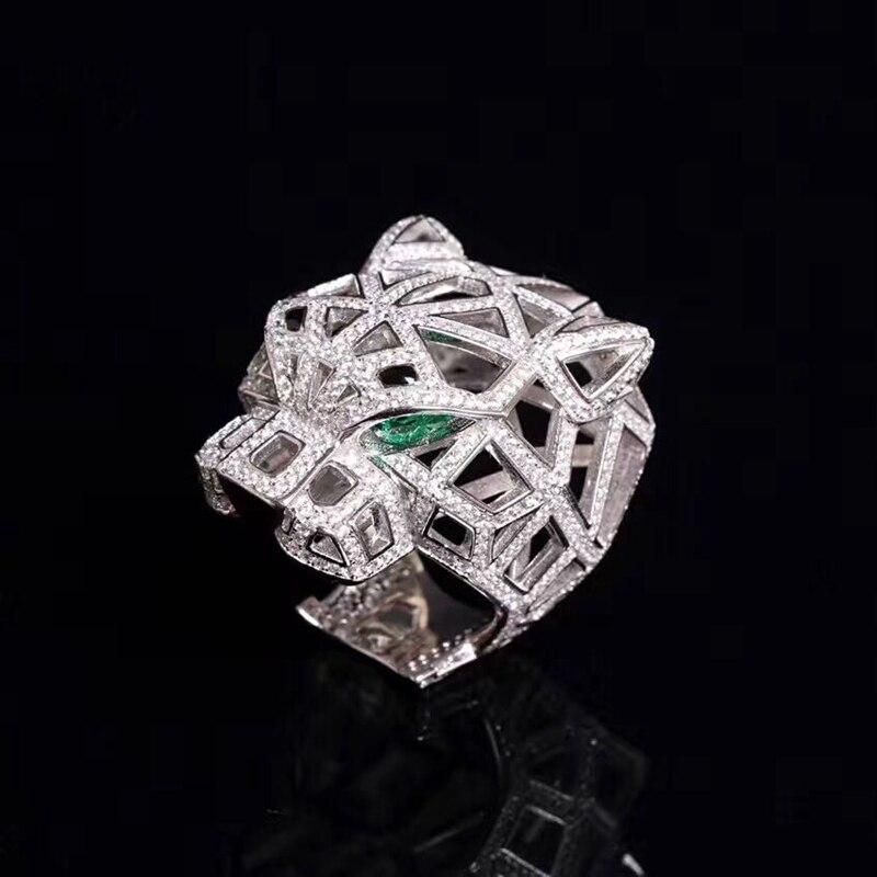 Solide 925 argent Sterling léopard tête anneaux pavé cubique zircone pierres panthère Animal creux anneaux pour hommes femmes fête