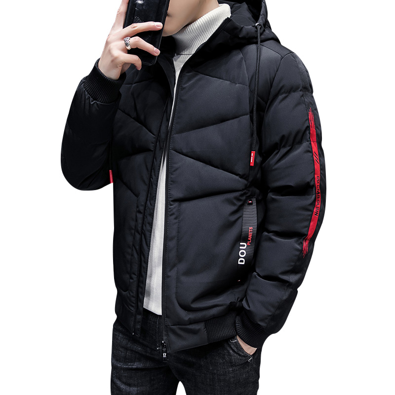 Winter Fashion Casual Men Parkas Thick Warm Solid Color Mens Coat Hat UnDetachable Parka Hooded Male Coats Cotton Padded Outwear