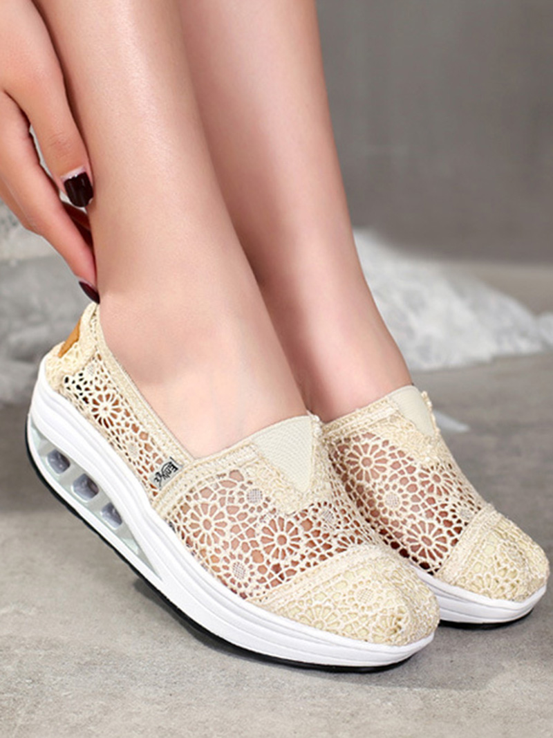 New Spring Summer Hollow Canvas Shoes Women Fashion Lace Slip on Shoes for Women Breathable Platform Shoes 2020 VT750 (8)