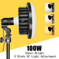 Photo Video Photography 3000k-5500K 220V 100W LED Light CRI90 +Stand+Boom Arm Continuous Lighting Kits Photo Studio Accessories