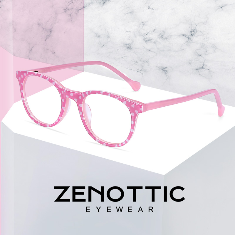 ZENOTTIC Optical Myopia Glasses Frame Girls Pink Acetate Fashion Spectacles Frames Kids Cute Transparent Eyeglasses Frames Child