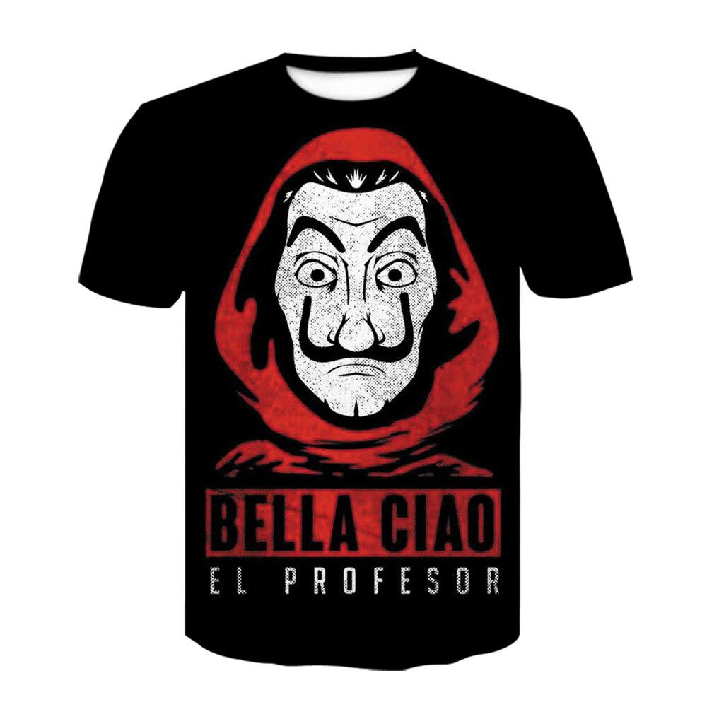 Lété Après Le hack T-Shirt La Maison De Papier De La Casa De Papel T-Shirt Vogue Dali Masque Casa De Papel T-Shirt Style Décontracté Hommes Haut