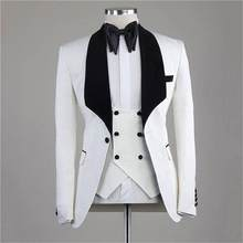 New Arrival Groomsmen Shawl Black Lapel Groom Tuxedos Navy Blue Men Suits Wedding/Prom/Dinner Best Man Blazer ( Jacket+Pants)(China)