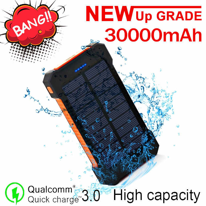 Solar Power Bank 30000mah Externe Batterie Tragbare Wasserdichte Laden Laden für Samsung Xiaomi Iphone PoverBank Power