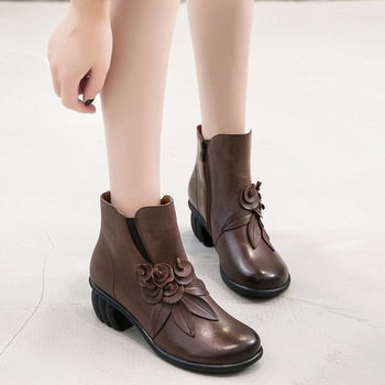 Nation Comfortable With Short Boots Head Layer Cowhide Single Woman Boots Flower Decoration
