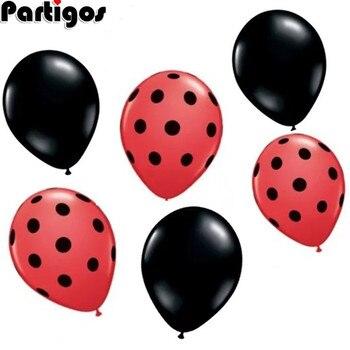 12 unids/lote de Globos de látex de punto blanco y rojo y negro de Ladybug, Globos de cumpleaños con lunares ondulados, suministros de decoración del banquete de boda, juguete para niños