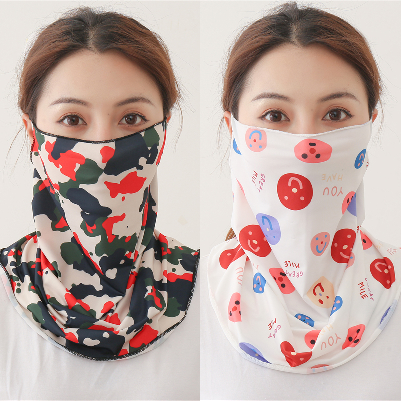 2020 New Silk Face Scarf Neck Wraps Mouth Sunscreen UV Face Cover Bandana Women Print Designer Floral Thin Lady Scarves Summer