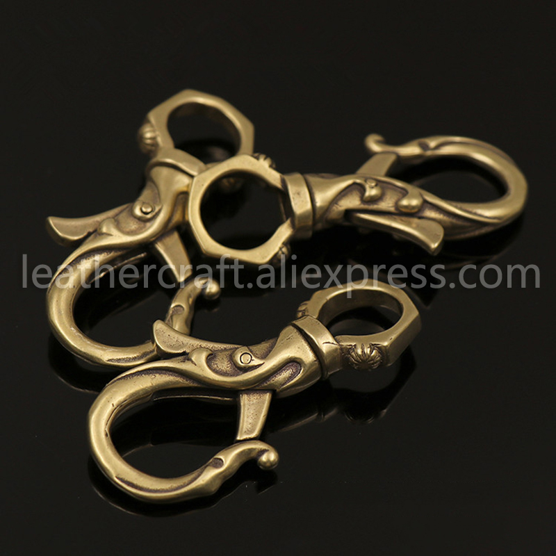 2pcs Solid Brass Flower Swivel Trigger Snap Hook Spring Gate Clasps Clips Leather Belt Pet Leash Bag Strap Webbing Keychain Hook in Buckles Hooks from Home Garden