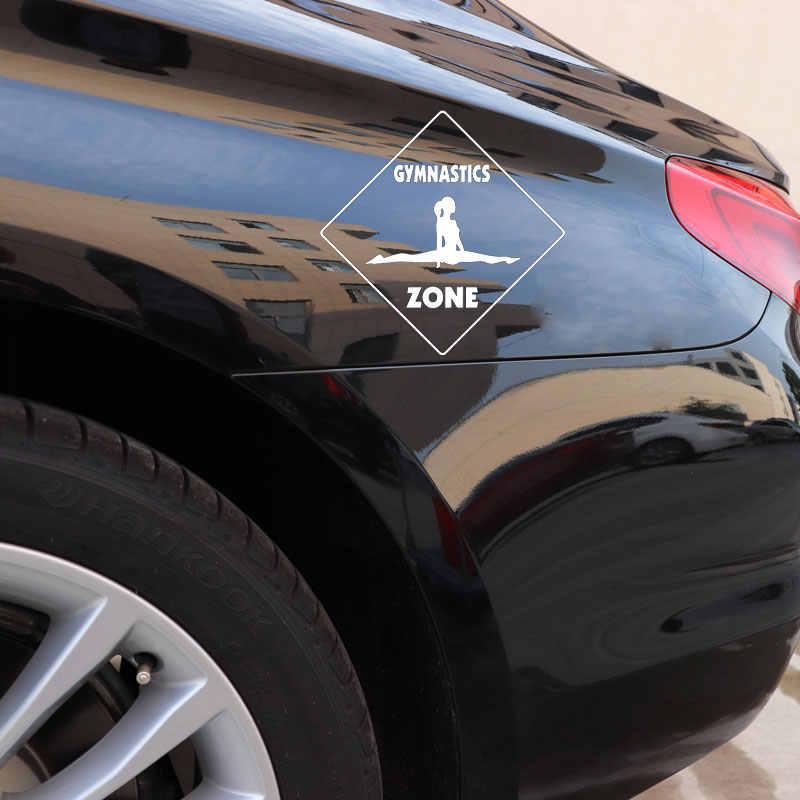 YJZT 15.6 ซม.* 15.6 ซม.ยิมนาสติกข้ามรูปลอก Zone อุปกรณ์ตกแต่งรถยนต์สติกเกอร์ไวนิล Decals สีดำ/เงิน C31-0497