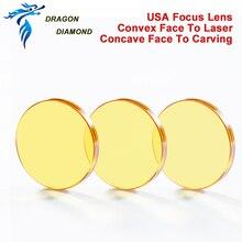 США CVD ZnSe фокус объектива диаметром 12 мм 15 мм 18 мм 19,05 мм 20 мм FL 38,1-127 мм для CO2 лазерной гравировки резки II-VI зеркал США
