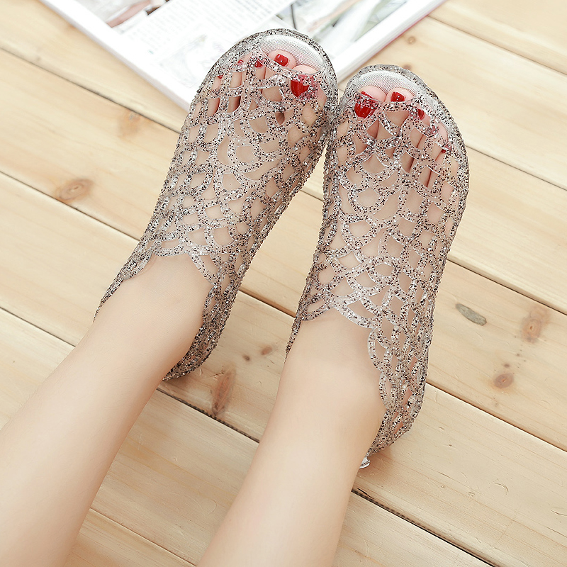 2019 New Summer Women Sandals Ladies Gladiator Sandals Peep Toe Hollow Crystal Shoes Summer Beach Jelly Shoes Woman Flat Sandals