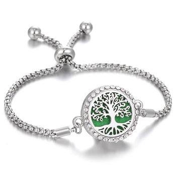 Aromatherapy Bracelet Diffuser Locket Tree of Life Adjustable Perfume Essential Oil Diffuser Bracelet Crystal Magnetic for Women