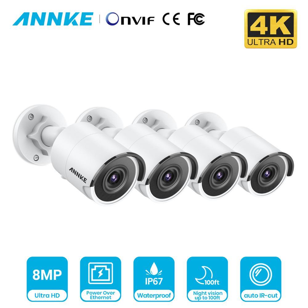 ANNKE 4X Ultra HD 8MP POE IP Kamera 4K Outdoor Indoor Wasserdicht Netzwerk Kugel EXIR Nachtsicht E-mail Alarm sicherheit CCTV Kit