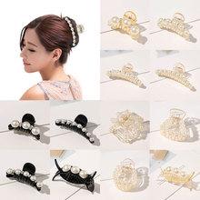 Elegant Geometric Pearl Rhinestone Hair Claws Women Girls Big Small Size Hairpins Hair Clip Headwear Barrettes Hair Accessories