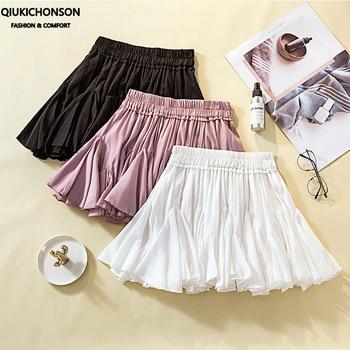 Plus Size Summer Skirts Ladies Cute Soft Girl Lolita Elastic High Waisted Ruffle Mini Tutu Skirt Women jupe short femme ruffle trim high waisted high low skirt