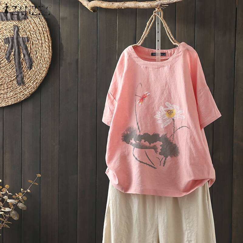 ZANZEA Summer Printed Tunic Tops Women Short Sleeve Blouse Casual Cotton Linen Shirts Robe Femme Plus Size Top Blusas Femininas