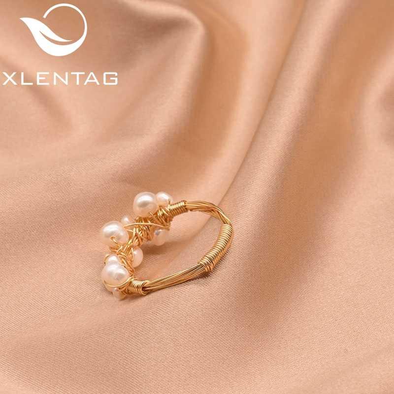 XlentAg оригинальные кольца в стиле барокко из пресной воды с белым жемчугом для женщин, ручная работа, винтажное свадебное кольцо, драгоценные ювелирные изделия GR0193