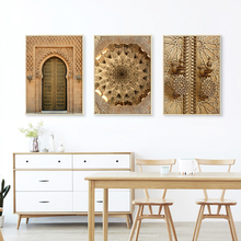 Morocco Door Wall Art Canvas Painting Gold Architecture Nordic Poster Wall Pictures For Living Room Decorative Unframed parrot canvas poster rose nordic wall art print wall pictures for living room flower poster nature decorative painting unframed