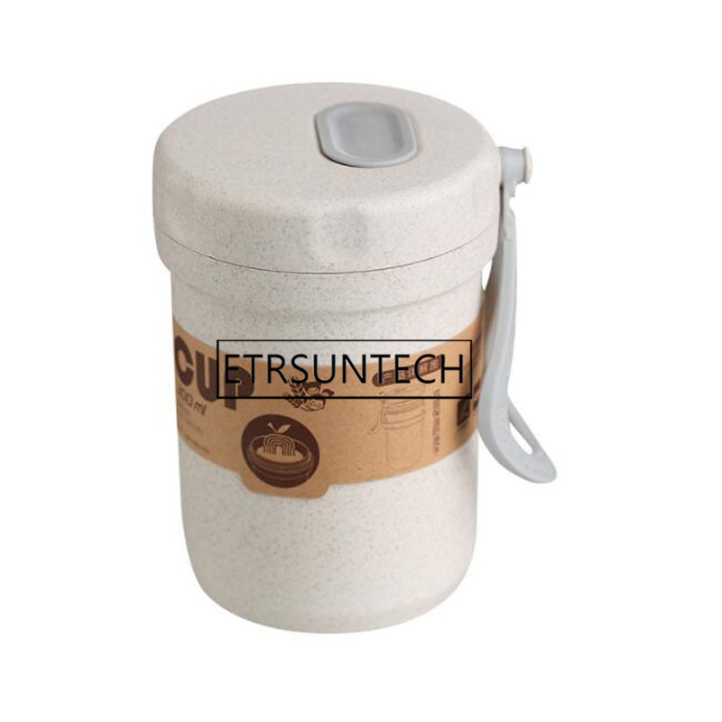 50pcs Portable Wheat Straw Lunch Breakfast Drink Porridge Cup Breathable Sealed Soup Cans To Work Soup Cup image