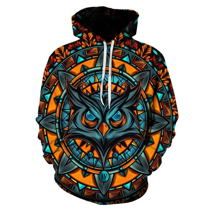 Casual 3D Hoodies Men Women 2019 Psychedelic Owl Print Hooded Sweatshirts Men Harajuku Hip Hop Streetwear Hoodie Sweatshirts