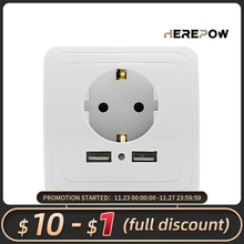 Herepow socket Wall Socket outlet with usb 16A EU Standard Socket Plug Socket Dual USB Port socket Wall Charger Pop Sockets CE