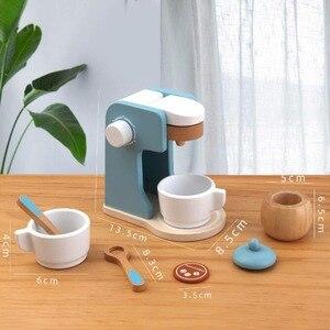 Image 5 - Dzieci drewniane udawaj zagraj zestawy symulacja tostery maszyna do chleba ekspres do kawy Blender zestaw do pieczenia gra mikser kuchnia rola zabawka