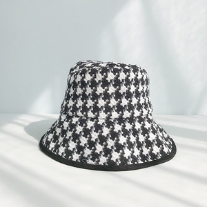 Image 3 - USPOP spring autumn hats women Black white plaid hats female tweed plaid bucket hats