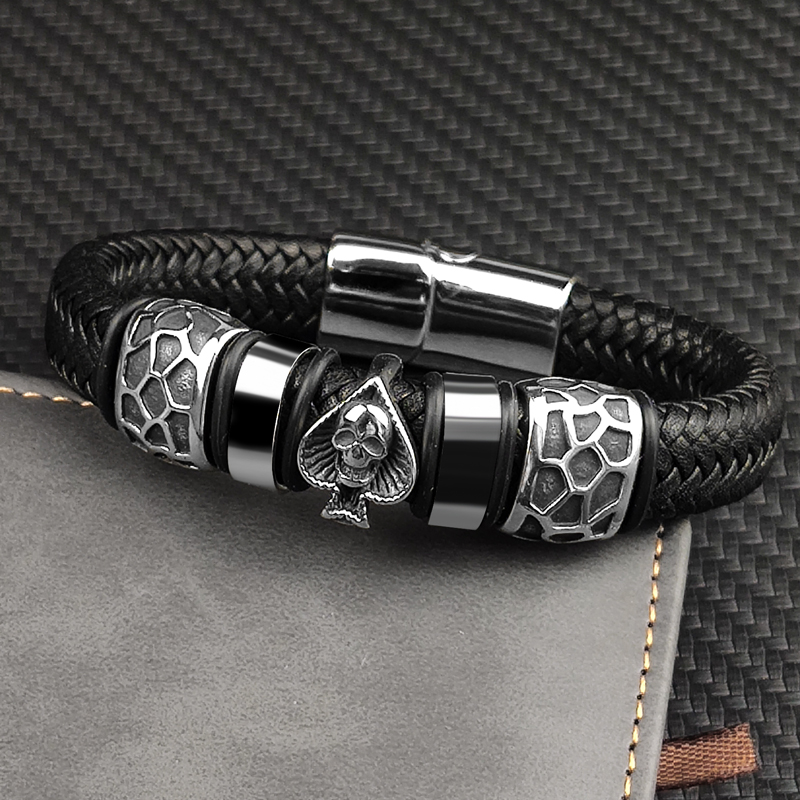 MingAo 12*6mm Braided Leather 316l Stainless Steel Charm Male Bracelets Spades Skull Head Bangle Punk Wristband Men's Jewelry