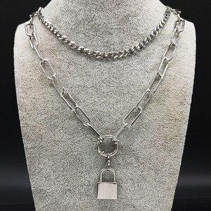 2020 любовь замок из нержавеющей стали ожерелье для женщин ювелирное сердце серебряный цвет цепочка ожерелье ювелирные изделия acero inoxidible N17835