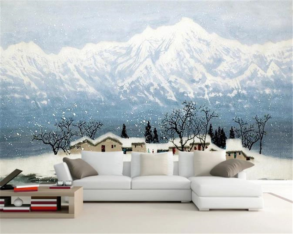 Custom 3d Wallpaper Snow Mountain Love Oil Painting Landscape Landscape Scenery Living Room Background Wall Beautiful