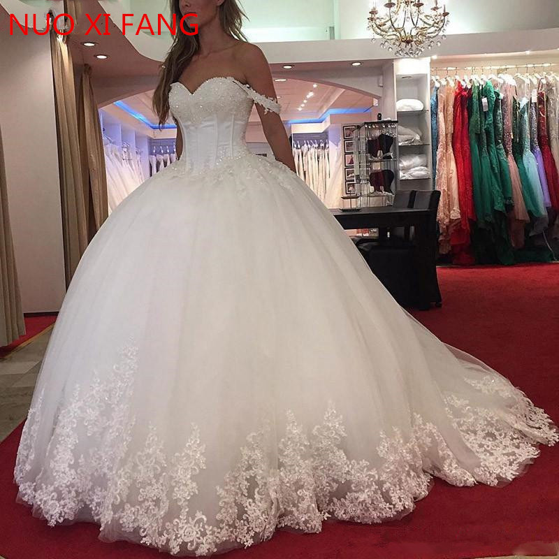 NUOXIFANG White Lace Appliques Ball Gown Wedding Dresses 2020 Sweetheart Beaded Princess Bride Dresses Robe De Mariee