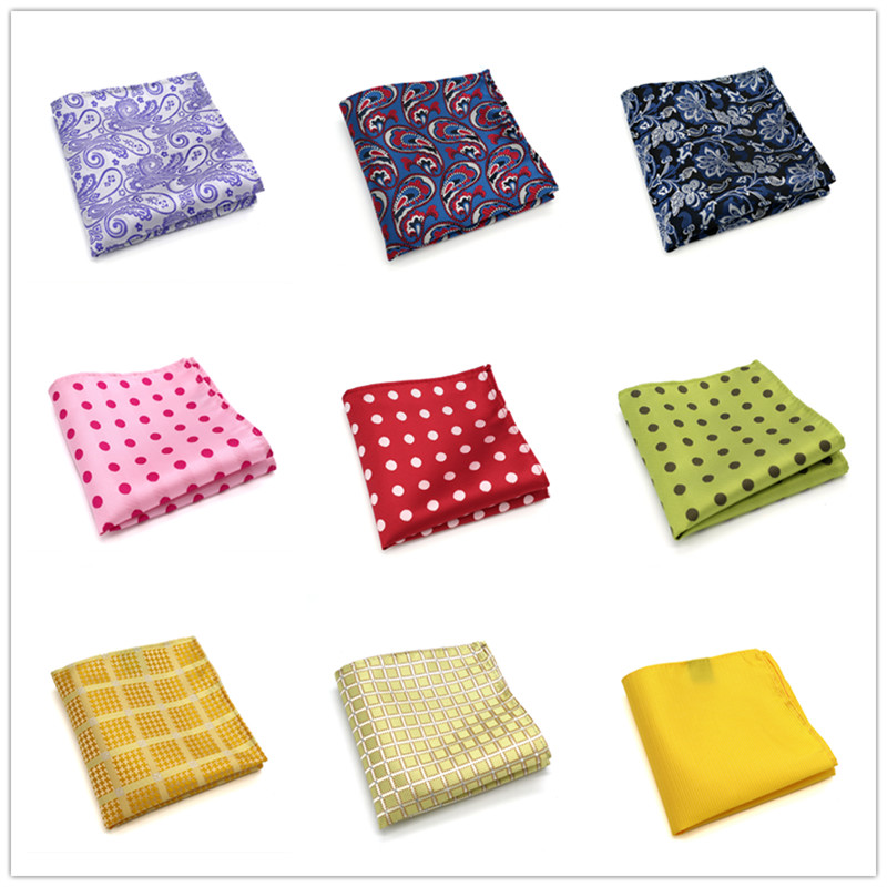 41-60 HOT Mens 100% Silk Handkerchiefs Floral Paisley Stripes Polka DOTS Pocket Squares For Suits Jackets Wedding Party Business