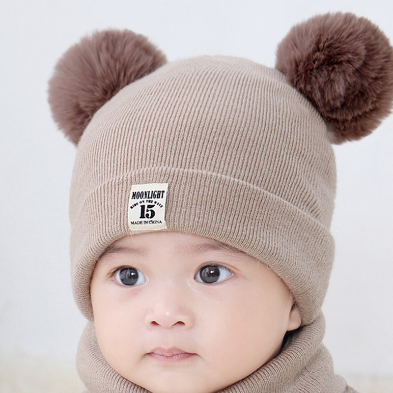 1PC Unisex Child Baby Winter Hat   Beanies   Cap Kids Solid Color Stripe Warm Hooded Earflap Knitted For Boys Girls Fur Pompons Caps