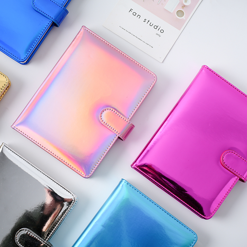 Creative Cute Laser Hardcover Leather Office Diary Kawaii Student Cartoon Agenda Planner Organizer Notebooks Stationery Thick