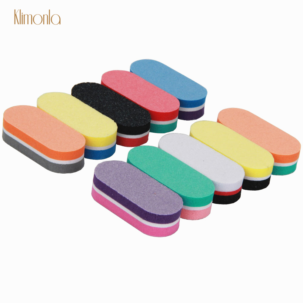 New Style 10pcs/lot Colorful Mini Nail File Oval Blocks Sponge Nail Polish Sanding Buffer Nail Polishing Manicure Care Tools