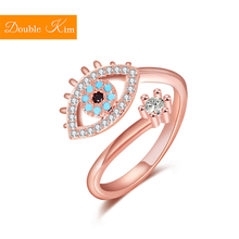 Eye of The Demon Zircon Adjustable Ring Copper Alloy Rose Gold Plating Resizable Rings Fashion Trendy Women Jewelry Birthday cheap Double kim Metal Engagement Prong Setting Other Classic Bridal Sets geometric Diamond-001