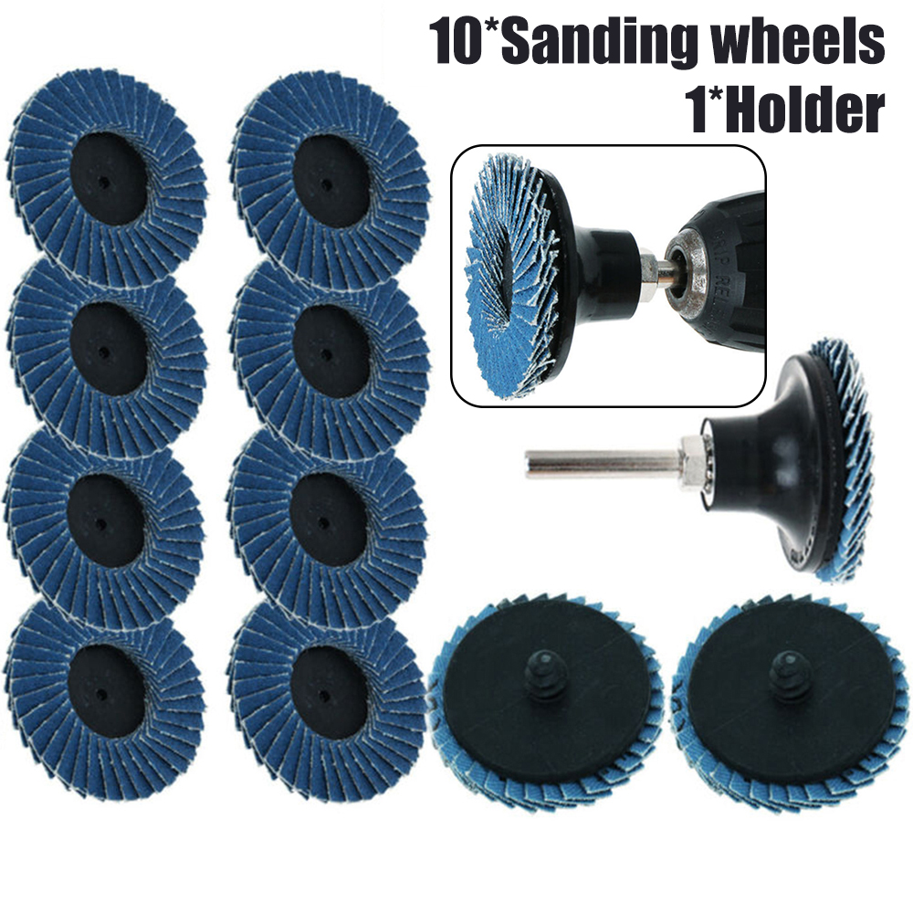 11pcs/Set 2 Flat Professional Flap Discs Roll Lock Grinding Sanding Wheels 50mm With Holder For Angle Grinder Abrasive Tools