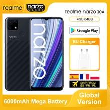 Version mondiale Realme Narzo 30A Smartphone 4GB 64GB Helio G85 6.5 pouces plein écran 13MP AI double caméra 6000mAh 18W Charge rapide