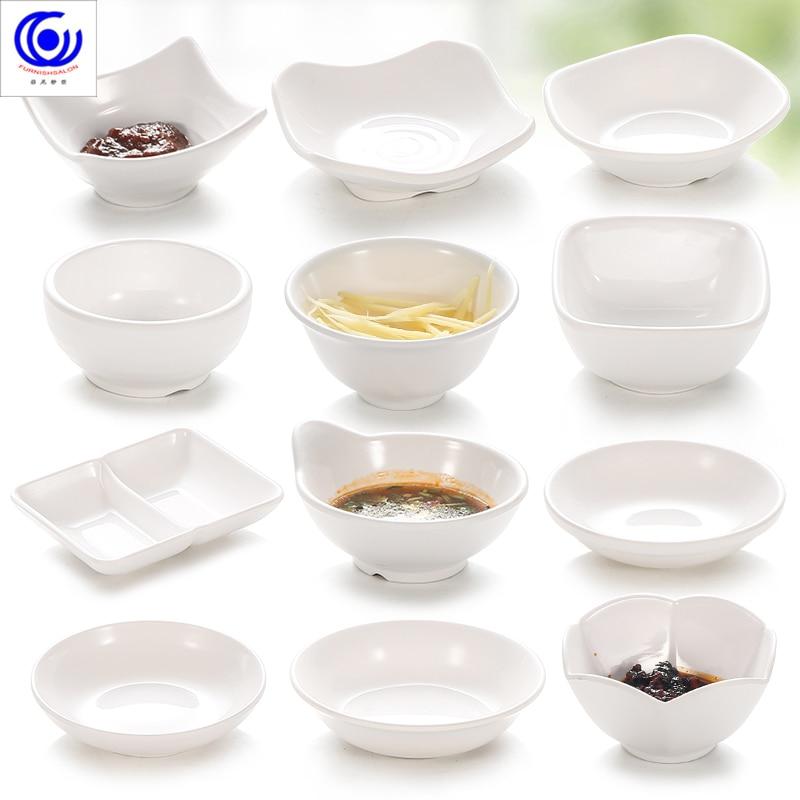 White Melamine Cold Vegetable Soy Sauce Plate Sushi Dessert Bowl Imitation Porcelain Ceramic Seasoning Dipping Tableware