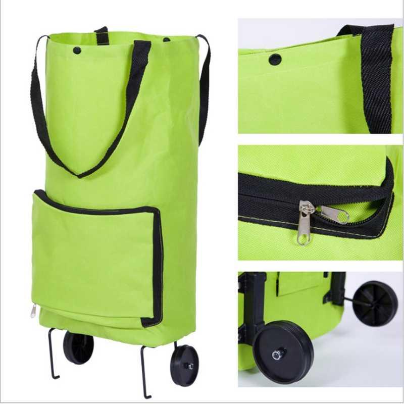 1 قطعة الإبداعية المحمولة عربة تسوق قابلة للطي عربة خفيفة الوزن حقيبة سفر قابلة للطي عجلات حقيبة للطي السوق عربات حقيبة التخزين